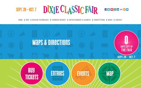Screenshot of Maps & Directions Page dcfair.com - Dixie Classic Fair - captured Oct. 9, 2018