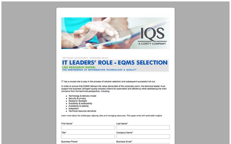 8827_LNS Research IT Leaders Role in EQMS Selection_IQS