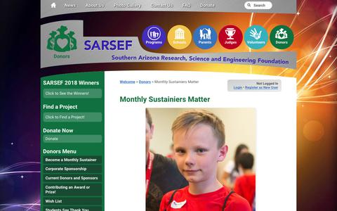 Screenshot of Signup Page sarsef.org - Monthly Sustainiers Matter - SARSEF - captured Oct. 1, 2018