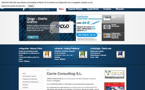 Screenshot of Home Page Menu Page carrie.es - Diseño web Zaragoza . Marketing Online . Desarrollo de Aplicaciones - Carrie Consulting S.L. - captured Oct. 1, 2014