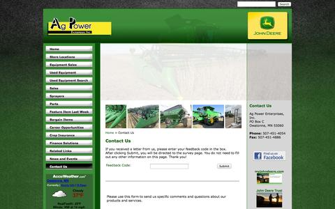 Screenshot of Contact Page agpowerjd.com - Ag Power Enterprises - Contact Us - Ag Power Enterprises Inc. - 1-507-451-4054 - Belle Plaine | Hollandale | Owatonna - captured Oct. 4, 2014
