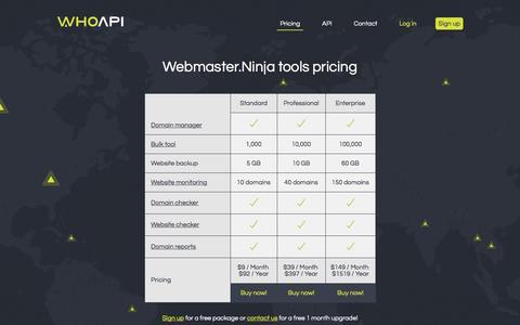 Screenshot of Pricing Page whoapi.com - Webmaster Ninja has the tools every webmaster or hoster needs. - captured Dec. 5, 2016
