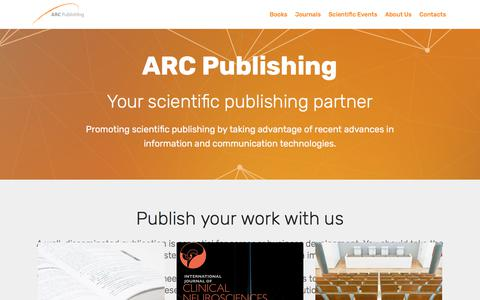 Screenshot of Home Page Services Page arc-publishing.org - ARC Publishing - Your scientific publishing partner - captured July 28, 2018