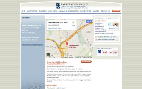 Screenshot of Maps & Directions Page pabstpatent.com - Pabst Patent Group | Directions - captured Oct. 1, 2014