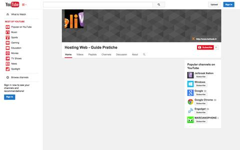 Screenshot of YouTube Page youtube.com - Hosting Web - Guide Pratiche  - YouTube - captured Oct. 23, 2014