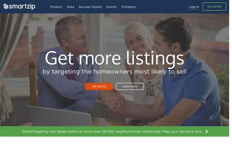 Screenshot of Home Page smartzip.com - Predictive Marketing for Real Estate | SmartZip - captured Sept. 5, 2015