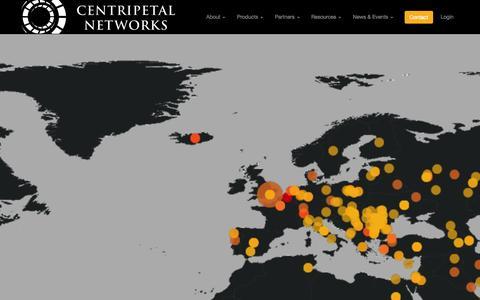 Screenshot of Home Page centripetalnetworks.com - Centripetal Networks - captured Sept. 29, 2014