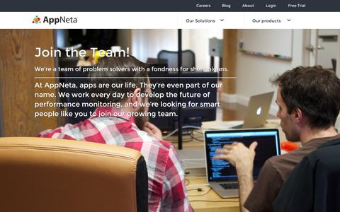 Screenshot of Jobs Page appneta.com - Career Opportunities and Development - captured Sept. 12, 2014