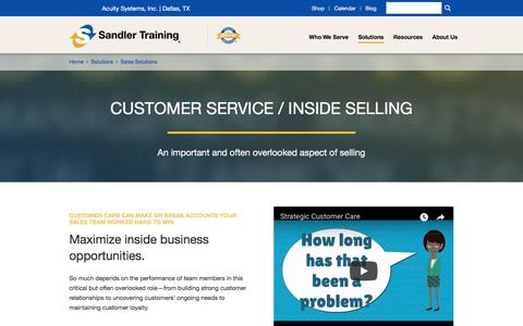 Screenshot of Support Page sandler.com - Customer Service / Inside Sales Training Solutions | Sandler Training - captured Oct. 7, 2017