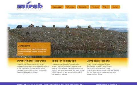 Screenshot of Home Page mirab.se - Mineral Resources - captured Jan. 26, 2015