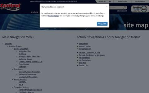 Screenshot of Site Map Page centralsemi.com - Central Semiconductor Corp.   Site Map - captured Sept. 27, 2018