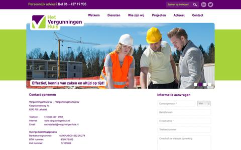 Screenshot of Contact Page vergunningenhuis.nl - Contact met Vergunningenhuis - captured Oct. 2, 2014