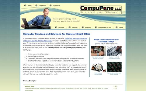 Screenshot of Services Page compupane.net - Computer Hardware, Software, OS Service and Support, Backup, Recovery, Malware Prevention and Removal, CompuPane, Auburn, Washington - captured Sept. 30, 2014