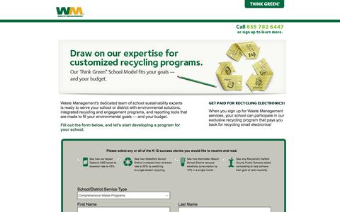 Screenshot of Landing Page wm.com - Getting Started :: Education K-12 Waste Disposal Services | Waste Management - captured Aug. 19, 2016