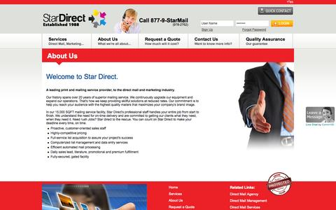 Screenshot of About Page stardirectmail.com - Star Direct Mail | About Us | Welcome To Star Direct - captured Sept. 30, 2014