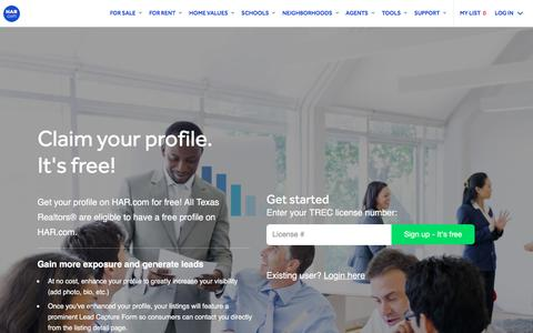 Screenshot of Signup Page har.com - Claim your profile on HAR.com | Texas Real Estate Pro - captured March 18, 2018