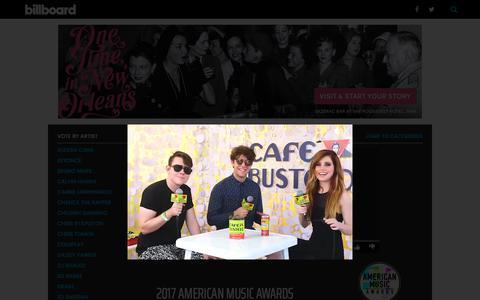 Screenshot of billboard.com - AMA Vote 2017: Choose Your Favorite American Music Awards Nominees | Billboard - captured Oct. 23, 2017