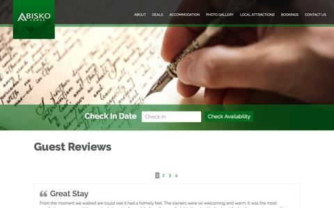 Screenshot of Testimonials Page abisko.co.nz - Abisko Lodge, Apartments and Campground | Methven Accommodation - captured Oct. 2, 2018