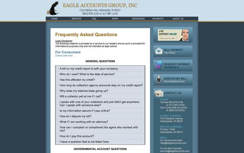 Screenshot of FAQ Page eagleaccounts.com - Eagle Accounts Group - Debt Collection Agency, Indianapolis, Indiana - captured Oct. 1, 2014