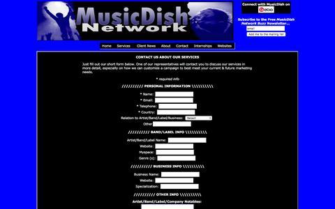 Screenshot of Services Page musicdish.net - MusicDish Network - captured Jan. 25, 2017