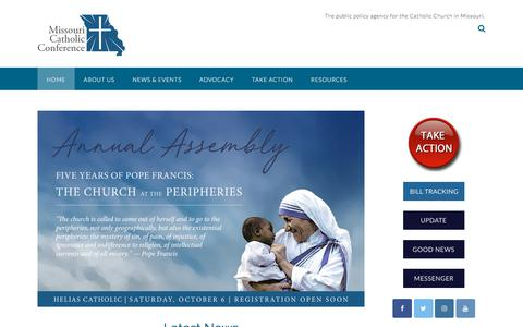 Screenshot of Home Page mocatholic.org - Missouri Catholic Conference – The public policy agency for the Catholic Church in Missouri - captured July 4, 2018