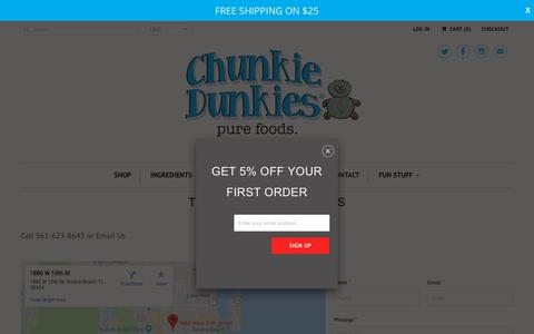 Screenshot of Contact Page chunkiedunkies.com - TELL US YOUR THOUGHTS - Chunkie Dunkies - captured July 17, 2018