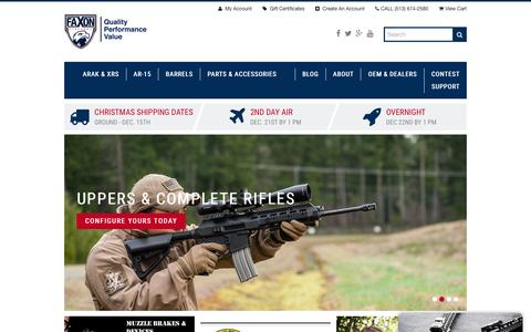 Screenshot of Home Page faxonfirearms.com - Faxon Firearms - captured Dec. 5, 2015
