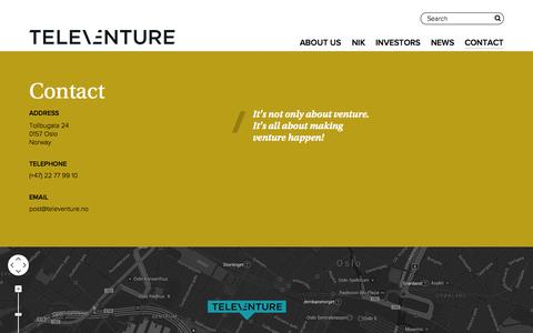 Screenshot of Contact Page televenture.no - Contact - Televenture - captured Nov. 5, 2014