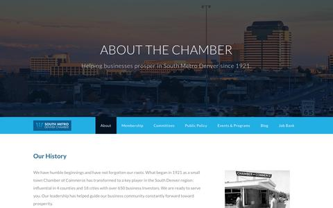 Screenshot of About Page bestchamber.com - About - South Metro Denver Chamber of Commerce | Denver, CO - captured Nov. 11, 2018