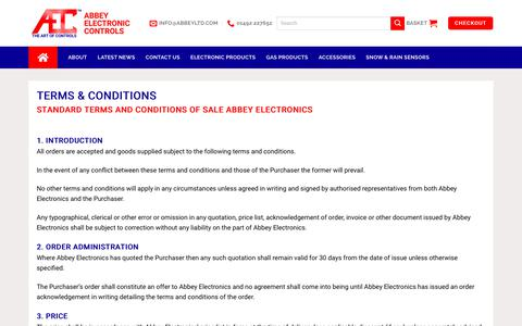Screenshot of Terms Page abbeycontrols.co.uk - Terms & Conditions - Abbey Electronic Controls Ltd - captured Oct. 2, 2018