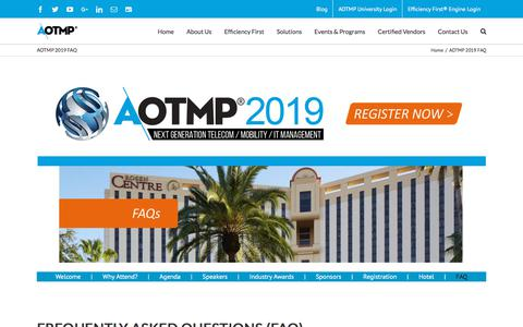 Screenshot of FAQ Page aotmp.com - AOTMP 2019 FAQ - AOTMP - captured July 8, 2018