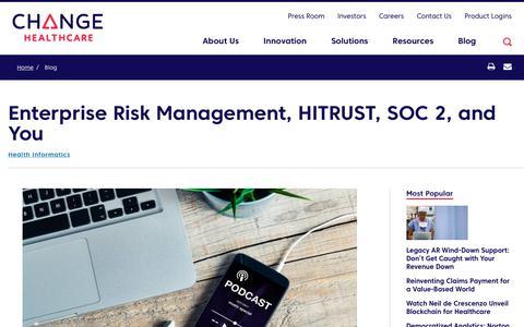 Screenshot of Team Page changehealthcare.com - Enterprise Risk Management, HITRUST, SOC 2, and You | Change Healthcare - captured Feb. 20, 2020