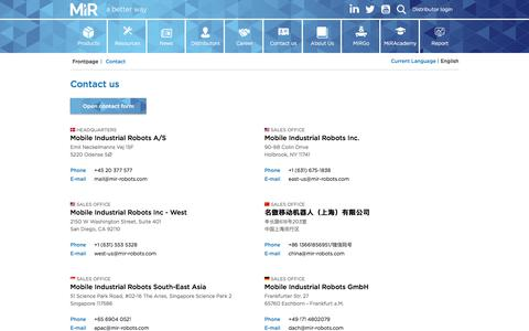 Screenshot of Contact Page mobile-industrial-robots.com - Contact us | Mobile Industrial Robots - captured Feb. 13, 2020