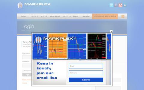 Screenshot of Login Page markplex.com - Login | TradeStation EasyLanguage Tutorials & Programming - captured Feb. 8, 2018