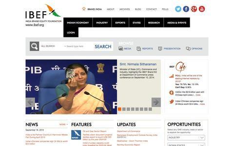 Screenshot of Home Page ibef.org - India Brand Equity Foundation, IBEF, Business Opportunities in India - captured Sept. 19, 2014