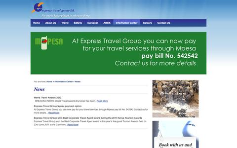 Screenshot of Press Page expresstravel.co.ke - News - captured Oct. 1, 2014