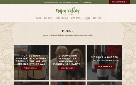 Screenshot of Press Page napavalleygrille.com - About | Napa Valley Grille | Westwood - captured Nov. 15, 2018