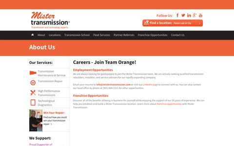 Screenshot of Jobs Page mistertransmission.com - Employment Opportunities   Mister Transmission - captured Oct. 7, 2014