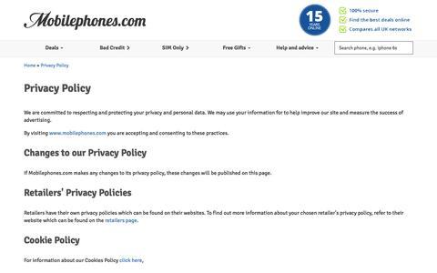 Screenshot of Privacy Page mobilephones.com - Privacy Policy at Mobilephones.com - captured Feb. 17, 2016