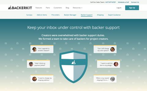 Screenshot of Support Page backerkit.com - Dedicated Backer Support for Backer Questions | BackerKit - captured Oct. 19, 2018