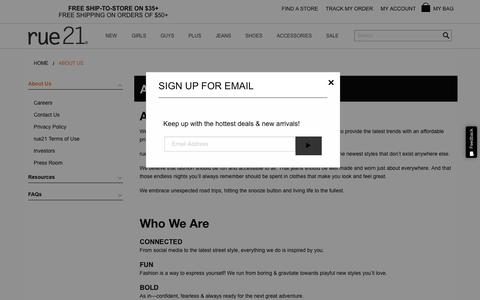 Screenshot of About Page rue21.com - About Us | rue21 - captured Oct. 18, 2018