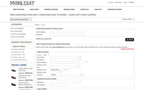 Screenshot of Login Page mobilesat.ca - Login Shoes Collection & Clothes Collection | Mobilesat.ca - captured Oct. 18, 2018