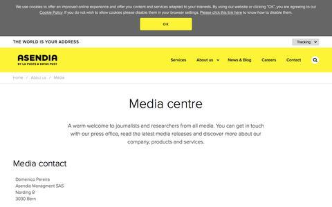 Screenshot of Press Page asendia.com - Asendia :: Media - captured July 11, 2018
