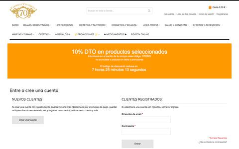 Screenshot of Login Page farmaciavelazquez70.com - Identificador de cliente Farmacia en Madrid 12 horas - Medicamentos online - Parafarmacia - - captured Sept. 22, 2018