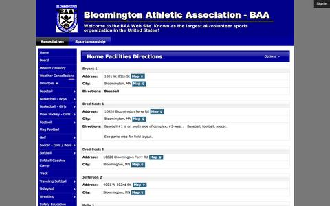 Screenshot of Maps & Directions Page baaonline.org - Home Facilities Directions   Bloomington Athletic Association - BAA - captured Feb. 7, 2016