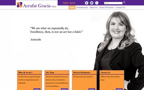 Screenshot of Home Page arrufatlaw.com - Arrufat Gracia PLLC - captured Oct. 4, 2014