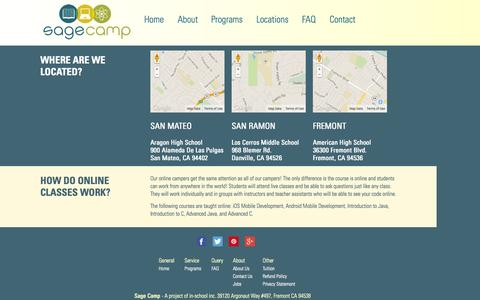 Screenshot of Locations Page sagecamp.com - locations - Sage Camp - Summer K-12 Academic Enrichment in Science, Technology,         Engineering, Arts, and Math - captured Sept. 30, 2014