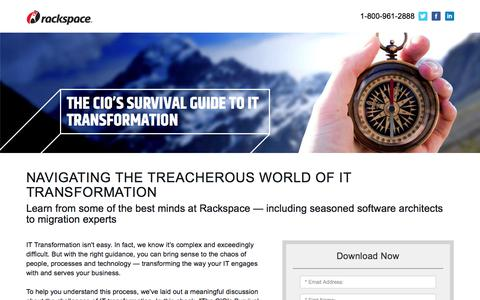 Screenshot of Landing Page rackspace.com - Download Our Ebook: The CIO's Survival Guide to IT Transformation - captured May 22, 2018
