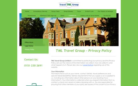 Screenshot of Privacy Page tml-travel-group.com - TML TRAVEL GROUP - Privacy Policy - captured Feb. 22, 2016
