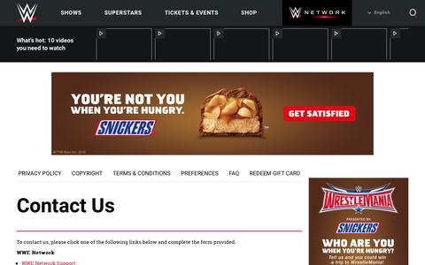 Screenshot of Contact Page wwe.com - Contact Us - captured Feb. 24, 2016